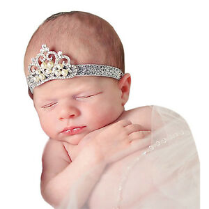 Crown hair band Princess Baby Girl Crystal Pearl Crown Hairband C