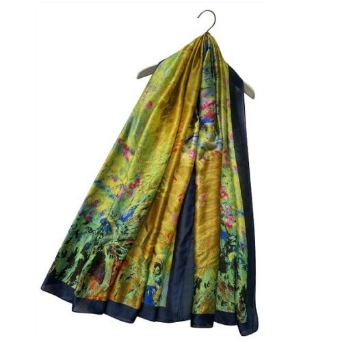 Oil Painted Flower Garden 100/% Silk Scarf Shawl Sarong Lovely Gift Idea