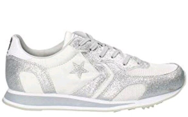 Converse Auckland Racer Ox Ladies Uk 4 Pure Silver White Bnib 561303C Trainers