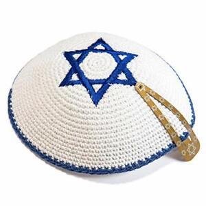 Knitted-Cotton-16cm-White-Navy-Blue-Magen-David-Kippah-Jewish-Israel-Yarmulke