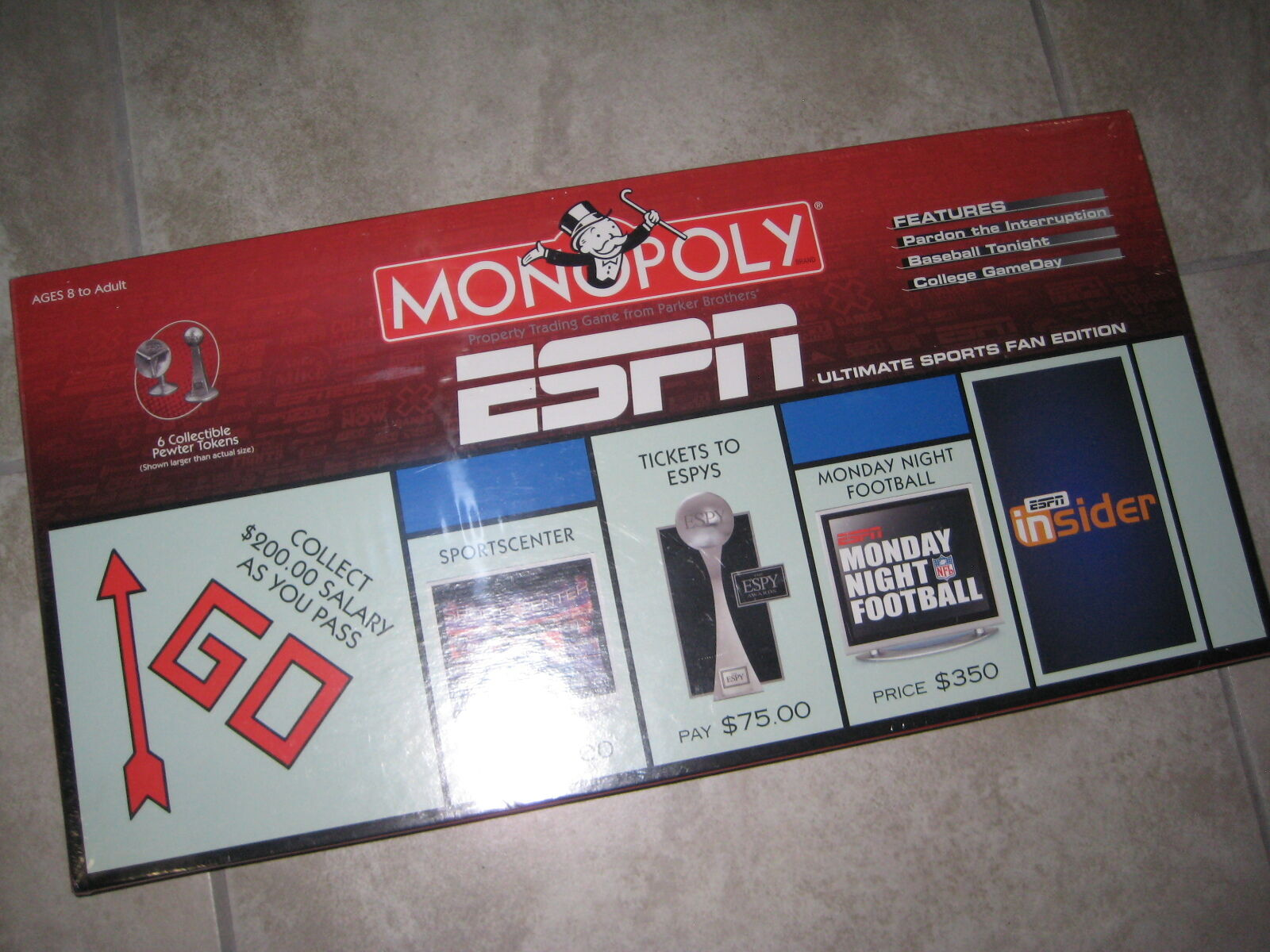 Retired New Unopened MIB ESPN Sports MONOPOLY 2006 Pewter Token Board Game Espy