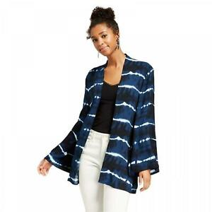 New-Xhilaration-Women-039-s-Flowy-Open-Front-Tie-Dye-Kimono-Navy-Blue-White