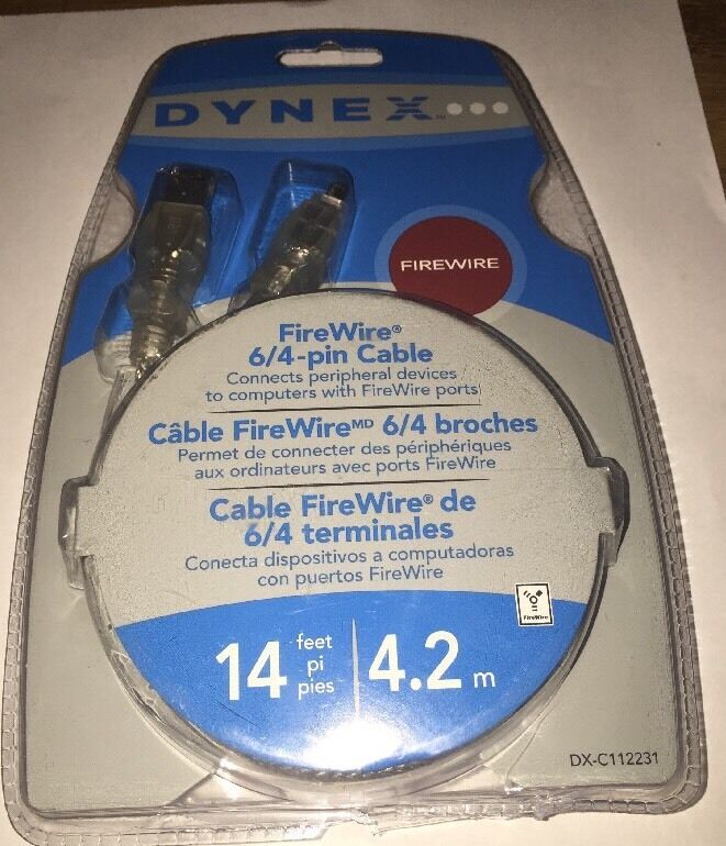 Dynex FireWire 6/4-pin Cable 14 Feet----BRAND NEW IN PACKAGE