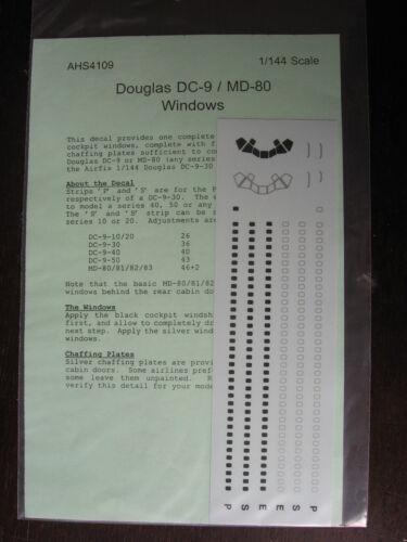 1//144 DOUGLAS DC 9 MD 80 WINDOWS DECAL SET DECALCOMANIE