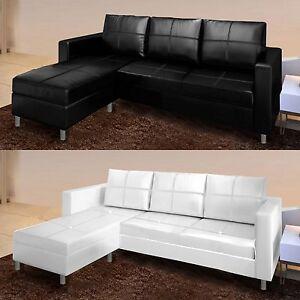 Divani Tre Posti Ad Angolo.Divano Angolare Moderno Ecopelle Con Pouf Sofa Soggiorno Bianco
