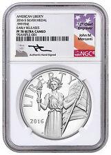 2016-S 1 oz. Silver American Liberty Medal NGC PF70 UC ER (Mercanti) SKU42400