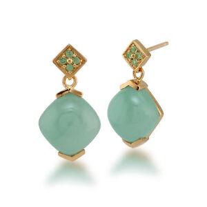 Gemondo-Gold-Plated-Sterling-Silver-10-00ct-Jade-amp-0-11ct-Peridot-Drop-Earrings