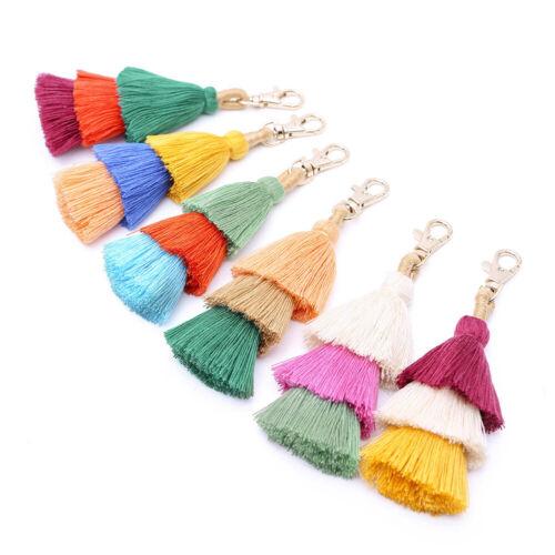 Bohemian Colorful Pompom Tassel Pendant Keychain Bag Key Chain Charms Key Ring