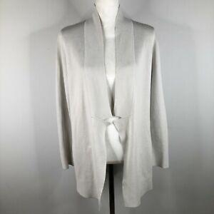 Eileen-Fisher-Cardigan-Sweater-Jumper-Womens-S-Ivory-Silk-Cotton-Open-Front-Knit