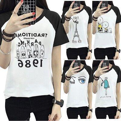 Fashion Women Summer Short Sleeve Printed Shirt Casual Blouse Loose Tops T Shirt