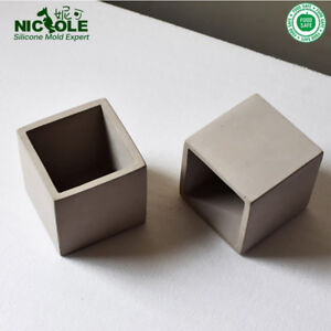 Cube-Concrete-Silicone-Mold-Planter-Flower-Pot-Cement-Vase-Mould-Craft-Hand-Make