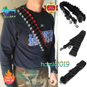 2-Point-Rifle-Shotgun-Sling-14-Shell-Ammo-Holder-Bandolier-12Ga-20Ga-Black