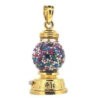 Gumball Charm In 14k Yellow Gold 3d Vintage Style Machine Candy Charm