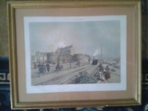 Colour lithograph nineteenth nantes: castle, the railway and station: carpenter