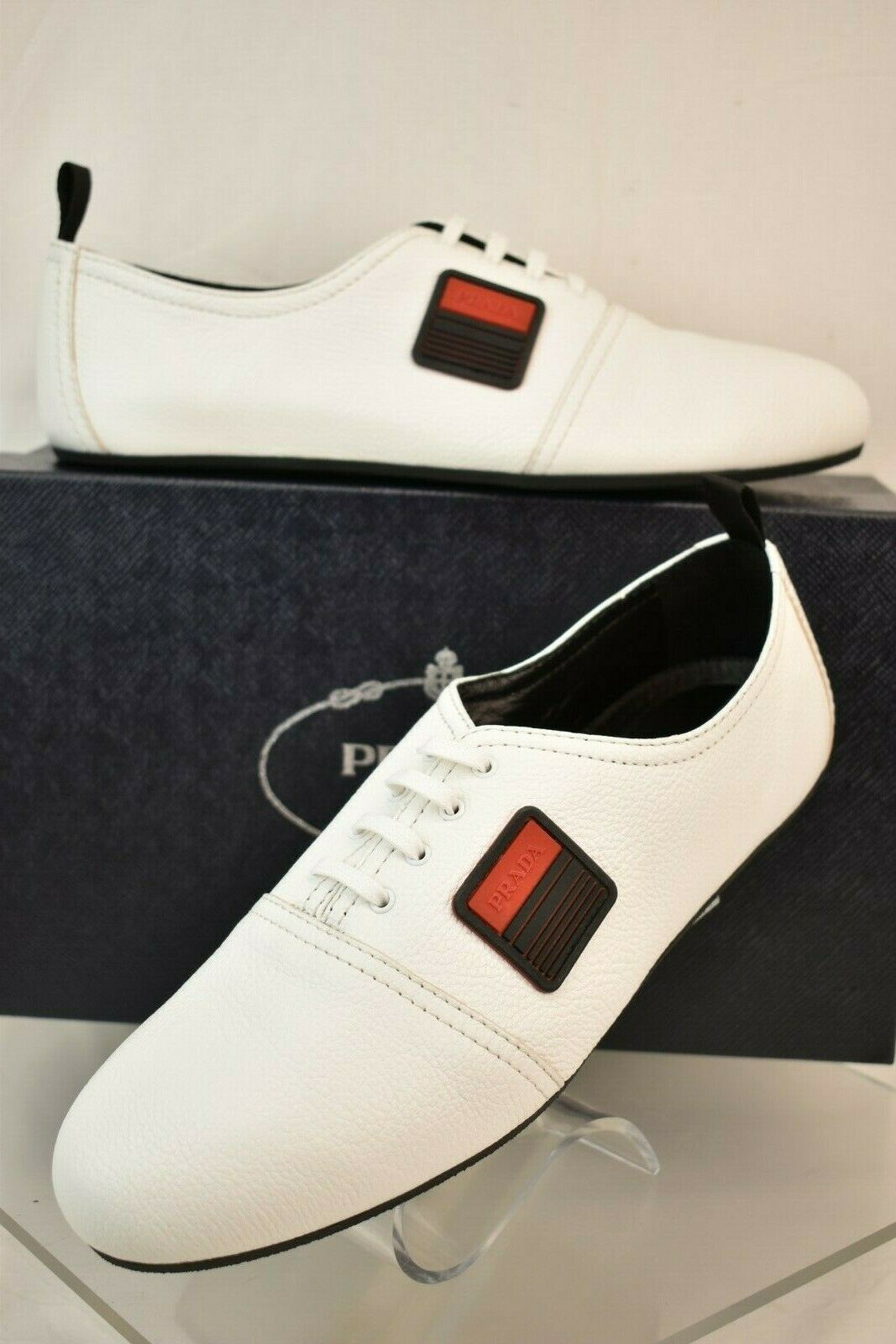 NIB PRADA bianca TEXTUrosso LEATHER LACE UP LOGO LOW TOP scarpe da ginnastica 10 US 11 ITALY