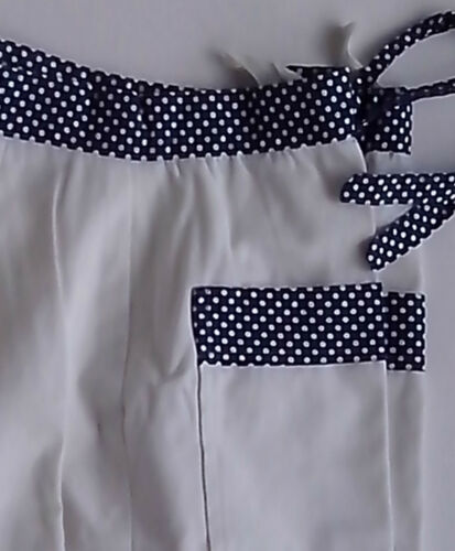 1960's Trousers White with Blue Polka Dot Waistband and Trim on Pockets vintage afficher le titre d'origine