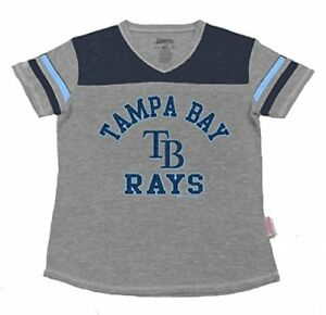 01cbaf59 Details about MLB Tampa Bay Rays Girl's V-Neck Jersey Top, Grey, Large