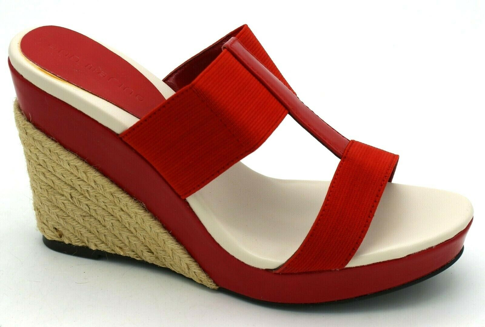 J8258 New Women's Ann Marino Joust Red Fabric Wedge Espadrilles Sandal 6.5 M