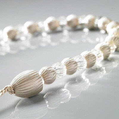 1 x Cream Modern Earl Designer Beaded Rope Curtain Tie Back Tieback