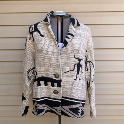 Vintage Painted Pony Cream, Black, And Gray South… - image 1