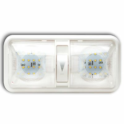 5 RV LED 12v CEILING FIXTURE DOUBLE DOME LIGHT FOR CAMPER TRAILER Touch Dimmer