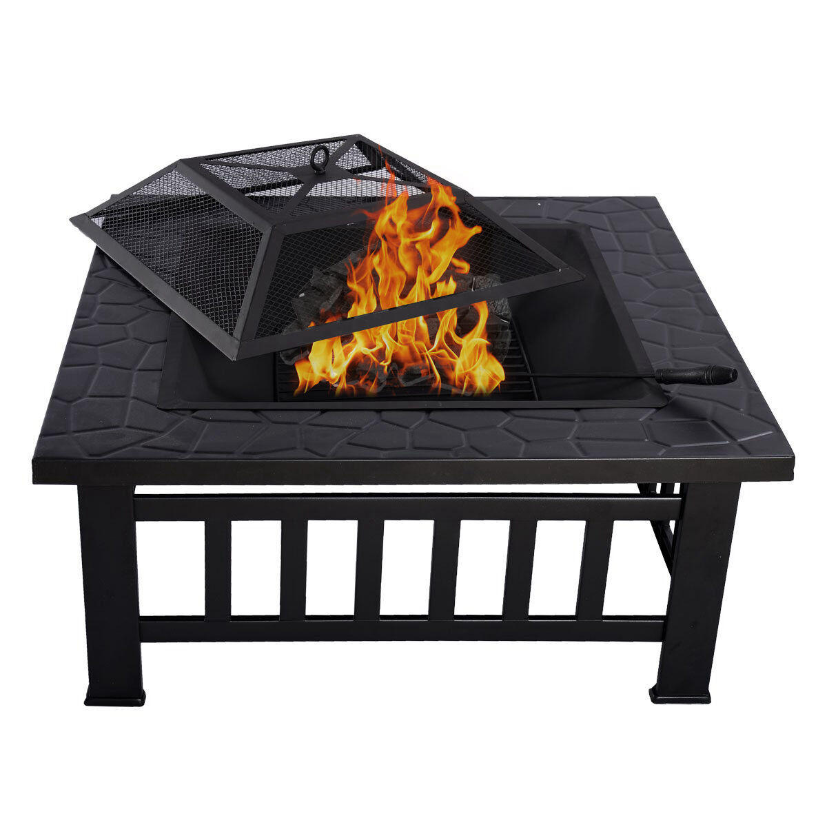 """32"""" Square Fire Pit Fire Bowl Outdoor BBQ Burning Grill ..."""