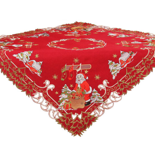 """Christmas Santa Claus Present Fir Embroidery Tablecloth Overlay 34 x 34/"""" Red"""