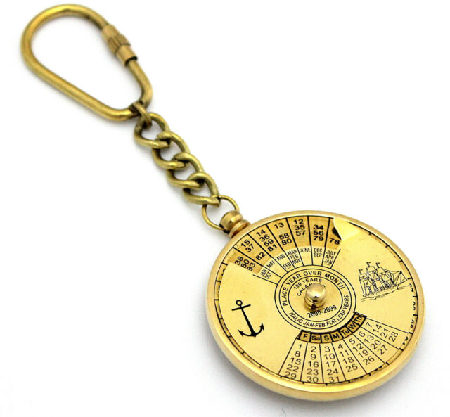 Solid Brass Nautical  Steampunk 100 Years Perpetual Calendar&World Timer Keyring