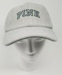 NWT VICTORIA/'S SECRET PINK GRAY WOOL CAP HAT O//S ADJUSTABLE STRAP BASEBALL CAP