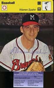 Warren-Spahn-Signed-1978-Sportscaster-Jsa-Cert-Authenticated-Autograph
