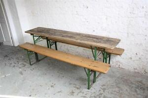 Image Is Loading VINTAGE INDUSTRIAL GERMAN BEER TABLE BENCH SET GARDEN
