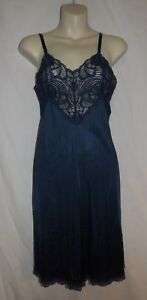 Adonna-Dark-Navy-Nylon-Full-Slip-Floral-Lace-Bodice-Inset-Size-32-EUC-USA-Made