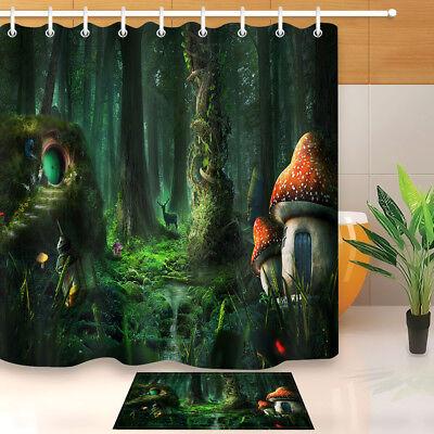 Fairy Forest Mushroom Deer Green Plants Shower Curtain Bathroom Set Accessories