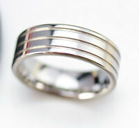 Mens Tungsten Carbide Three Lines Simple Wedding Ring Band Engagement Size Q