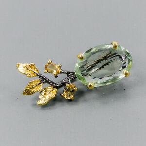 Handmade25ct-Natural-Green-Amethyst-925-Sterling-Silver-Brooch-NB07829