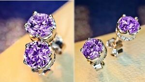 Women-Men-Stud-Earrings-925-Sterling-Silver-Round-Cut-White-Purple-CZ-Gift-Box