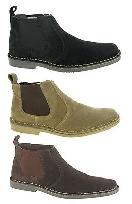 Desert Ankle Boots Suede Leather Chelsea Dealer Taupe Black Mens UK6-12