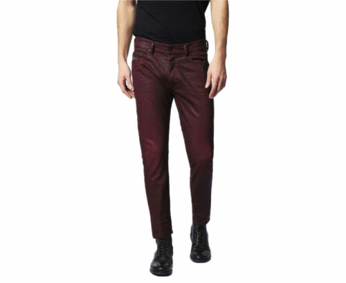 DIESEL TEPPHAR 0679T Mens Denim Jeans Maroon Stretch Slim Fit Carrot Leg