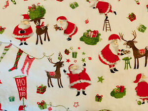 Pottery Barn Soft Cozy Toddler Bed Crib Santa Christmas Flannel Sheet Set Ebay