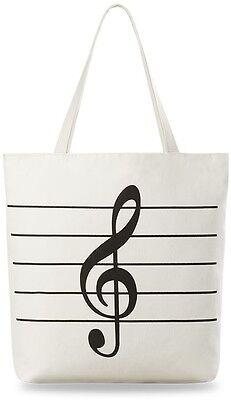geräumige Damentasche - EKO BAG - City Tasche - Violinschlüssel Muster !