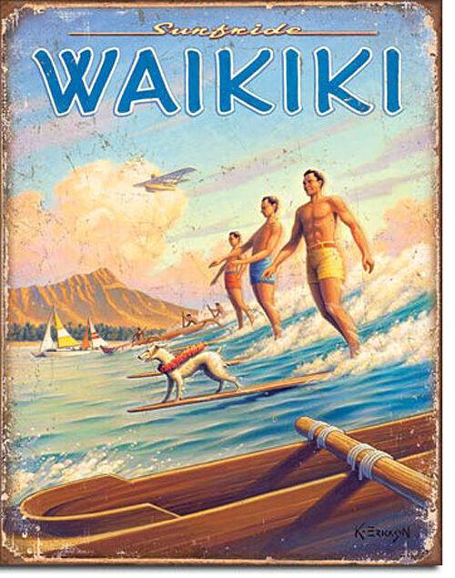 Aloha Tiki Waikiki Surfboard Hawaii Surfen Wassersport Deko Poster Schild *237