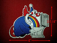 Rainbow Puking Clown Patch 4'' By 3-1/4'' Bright Colors, Really Funny
