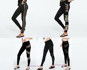 12970c2ec92a8 Victoria's Secret PINK RHINESTONE BLING COTTON YOGA LEGGING NEW M-L ...