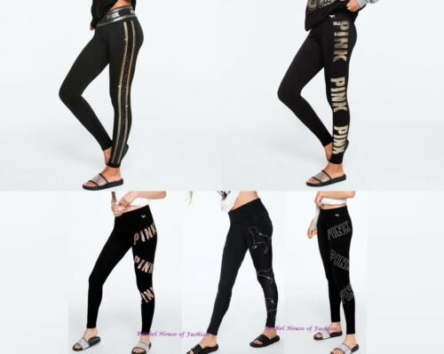 Victoria/'s Secret PINK RHINESTONE BLING COTTON YOGA LEGGING NEW M-L