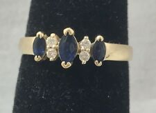 Natural Sapphire & Diamond 14K Yellow Gold Ring Size 6.5
