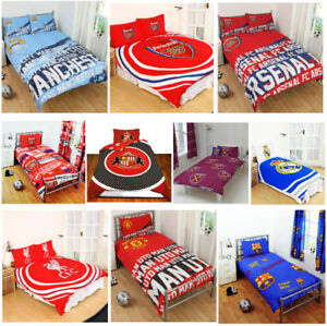 FOOTBALL-CLUBS-DUVET-COVER-SET-SINGLE-DOUBLE-ARSENAL-BARCELONA-CHELSEA-amp-MORE