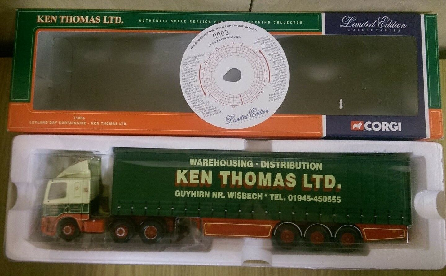 CORGI 75406 LEYLAND DAF Curtainside Kenny Thomas LTD EDITION no 0003 de 2490