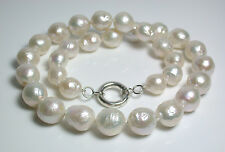 Natural white 10.5-13mm Kasumi-like freshwater pearl & sterling silver necklace