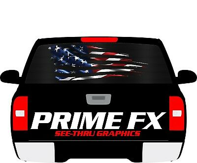 AMERICAN FLAG EAGLE Rear Window perforated Decal see through graphic tint van