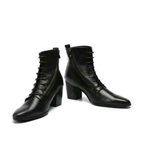 Mens-Cuban-Heel-Cross-Strap-Genuine-Leather-Pointy-Toe-Lace-Up-Work-Ankle-Boots